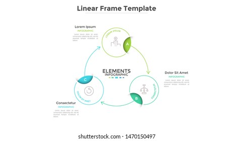 Round scheme or cyclic chart with 3 circular frames connected by arrows. Concept of three steps or stages of business process. Linear infographic design template. Vector illustration for banner.