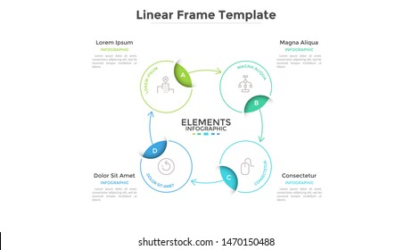 Round scheme or cyclic chart with 4 circular frames connected by arrows. Concept of foure steps or stages of business process. Linear infographic design template. Vector illustration for banner.
