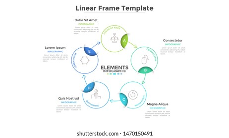 Round scheme or cyclic chart with 5 circular frames connected by arrows. Concept of five steps or stages of business process. Linear infographic design template. Vector illustration for banner.