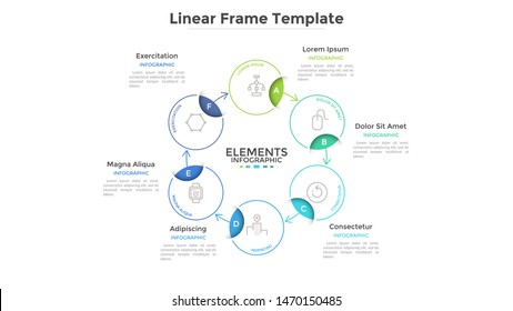 Round scheme or cyclic chart with 6 circular frames connected by arrows. Concept of six steps or stages of business process. Linear infographic design template. Vector illustration for banner.