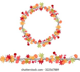 Round season wreath with autumn flowers,twigs  and maple leaves isolated on white. Endless horizontal pattern brush. For season design, announcements, postcards, posters.