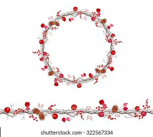 Round season wreath with berries,twigs  and apples isolated on white. Endless horizontal pattern brush. For season design, announcements, postcards, posters.