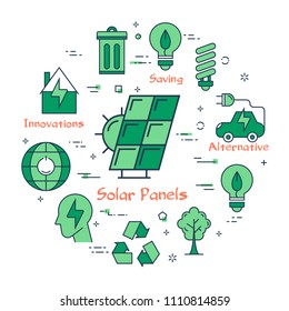 Round set of green icons with energy saving concept and alternative resources usage isolated on white background