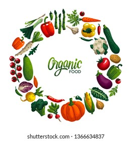 Round shape frame with Vegetables. Variety of decorative vegetables with grain texture isolated on white. Organic food round composition for restaurant menu, market label. Vector illustration