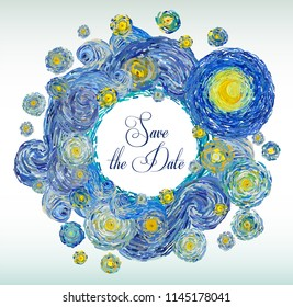 Round shape greeting card of glowing yellow moon on a starry sky isolated on white background. Vector illustration in the style of impressionist paintings.