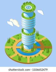 Round shape isometric futuristic skyscrapers background with high rise office building and green zones around vector illustration