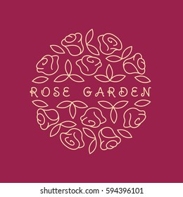 Round shape line style logo with rose flowers and leaves for boutique, cosmetics, beauty salon or flower shop.