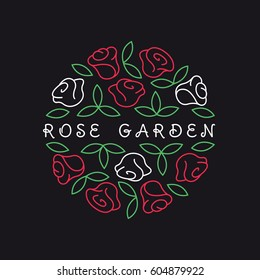 Round shape line style logo with rose flowers and leaves for boutique, cosmetics, beauty salon, landscaping studio or flower shop.