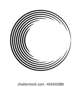 Round shape. Logo design. Circles of lines. Vector illustration.
