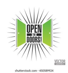 round shape logo in the form of two open doors to open the doors inscription, gren doors