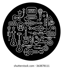 Round shape vector illustration of various musical instruments. Art line silhouettes on a black background.