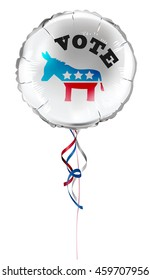 "Round shaped foil helium balloons with ""vote"" text and Democrat donkey for US presidential election. Detailed and realistic Vector illustration"