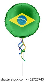 Round shaped foil helium balloons with the national flag of Brazil(Portuguese: Bandeira do Brasil) . Detailed and realistic Vector illustration