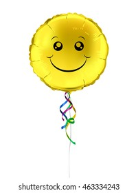 Round shaped foil helium balloons with the smiling yellow face . Detailed and