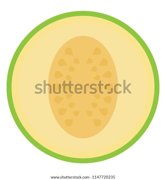 A round shaped fruit having small seeds, cantaloupe