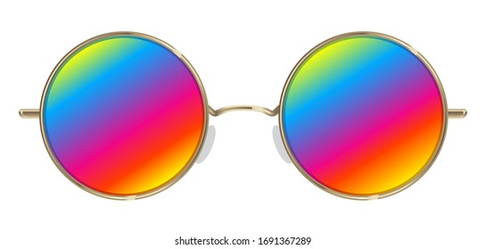 Round shaped hippie sunglasses with rainbow lences. Realistic iluustration. Peace and love!