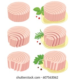 Round shaped tuna fillets. Vector illustration of canned tuna fillets with no gradients and mesh effects. Finely crafted shapes. Easy to use with or without decoration & sauce.