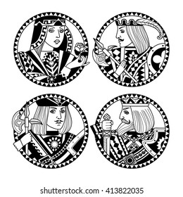 Round shapes with faces of playing cards characters in black and white colors. Original vintage design for coloring book. Vector illustration