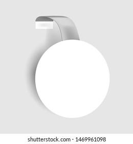 Round shelf wobbler, vector mockup. White blank circular dangler, template