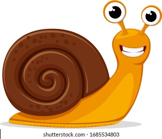 Round shell snail crawls and smiles on a white. Character