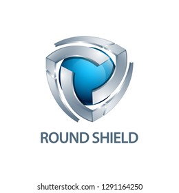 Round shield logo concept design. three dimensional style. 3D Symbol graphic template element vector