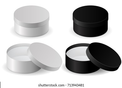Round shiny box. Black and white set of open boxes with lids. Vector 3d illustration isolated on white background