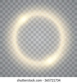 Round shiny frame background with lights. Abstract luxury golden ring. Vector illustration