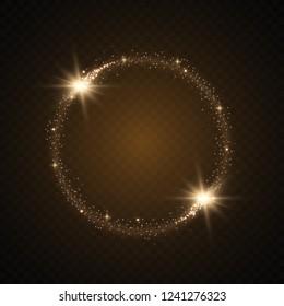 Round shiny frame background. Magic circle. Precious background.Round gold shiny frame with light bursts.