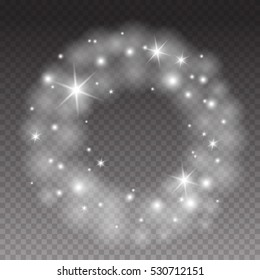 Round shiny frame with lights effects and bright stars.  Abstract vector elegant foggy ring isolated on transparent background
