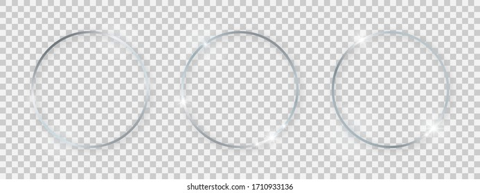 Round shiny frames with glowing effects. Set of three silver round frames with shadows on transparent background. Vector illustration