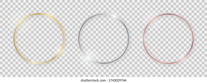 Round shiny frames with glowing effects. Set of three gold, silver and rose gold round frames with shadows on transparent background. Vector illustration