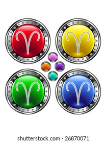 Round shiny vector button with aries zodiac symbol icon on colorful background