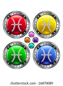 Round shiny vector button with pisces zodiac symbol icon on colorful background
