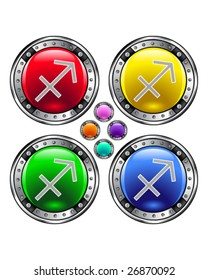 Round shiny vector button with sagittarius zodiac symbol icon on colorful background