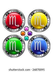 Round shiny vector button with scorpio zodiac symbol icon on colorful background