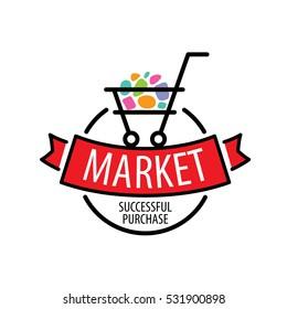 Round shopping cart vector logo