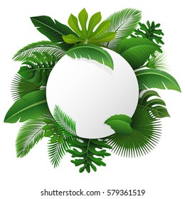Round Sign with text space of Tropical Leaves. Suitable for nature concept, vacation, and summer holiday. Vector Illustration