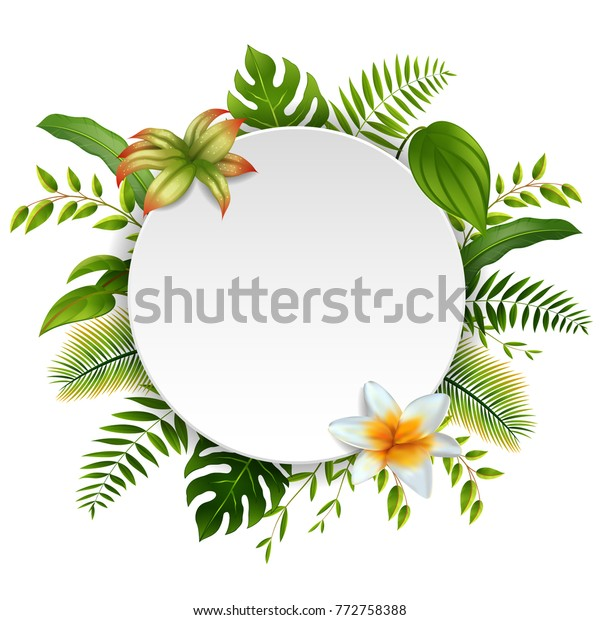 Round Sign Text Space Tropical Leaves Stock Vector Royalty Free 772758388 1 bouquet/18 leaves artificial silk tropical leaves for hawaii luau party decorations fske bonsai tree plant branch accessories. shutterstock