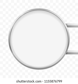 Round signage light box signboard. Vector metal circle lightbox sign box mockup for logo template. Circular cafe, restaurant outdoor mock up on transparent background