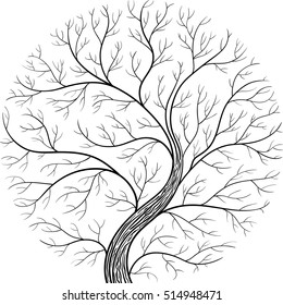 Round silhouette, yggdrasil tree. Black and white vector illustration.