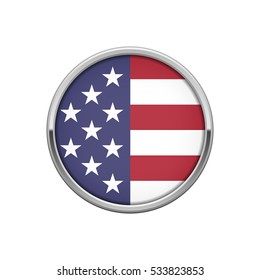 Round silver badge with USA flag