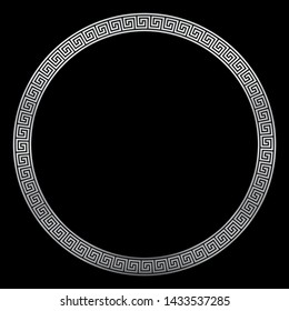 Round silver frame, ancient pattern, silver meander design with seamless greek pattern,  decorative border, constructed from continuous lines, shaped into a repeated motif. White background.