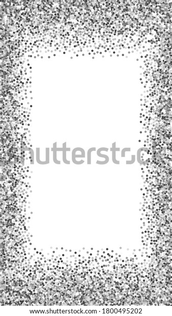 Round silver glitter luxury sparkling confetti. Scattered small gold particles on white background. Enchanting festive overlay template. Wonderful vector background.