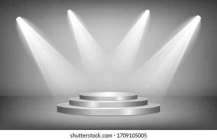 Round silver podium illuminated by spotlights on a gray background. Vector illustration.