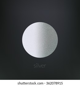 Round silver template on a dark background. Vector illustration. Shiny backdrop. Texture of silver foil.