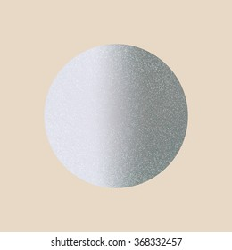 Round silver template on a light beige background. Vector illustration. Shiny backdrop. Texture of silver foil.
