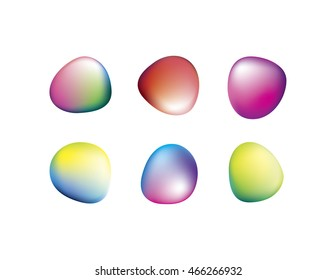 Round Smooth Irregular Stones or Ovals with Vector Gradient Mesh Colorful Background with Blue, Cyan, Green, Yellow, Orange, Red, Magenta, Purple Colors