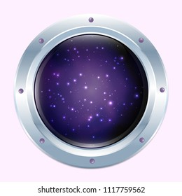 Round spaceship window with stars and dark cosmos behind. Pink wall. Stock vector.