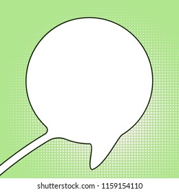 Round speech bubble made of one continuous line drawing on halftone pop art background, Vector minimalistic illustration