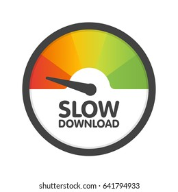 Round Speedometer slow download speed. Vector illustration template.